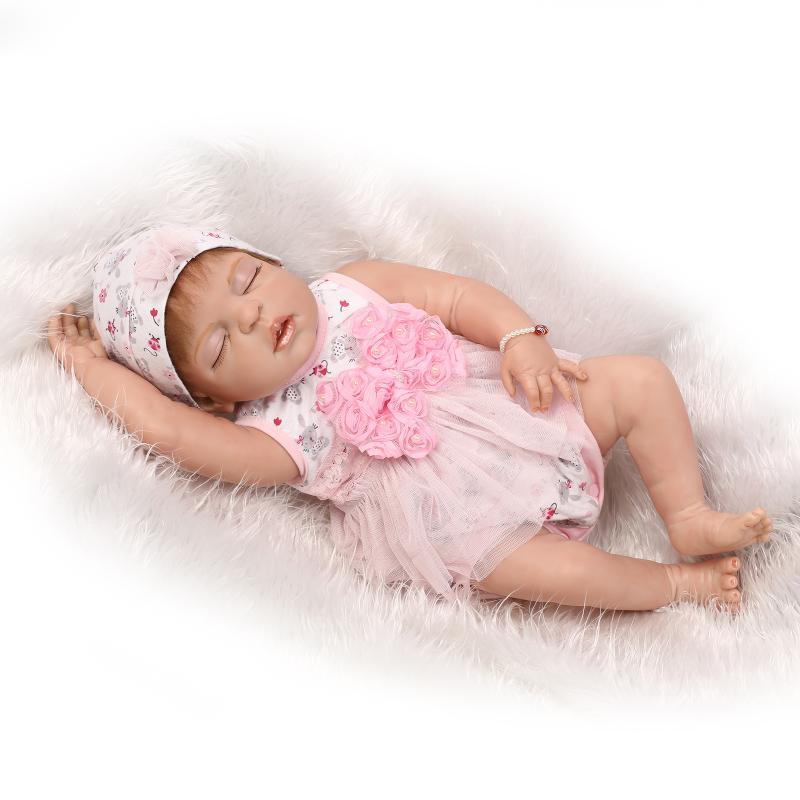 все цены на 58cm Hot Sale Cheap Dollar Lifelike Newborn Baby Bonecas Bebe Kid Toy Sexy Girl Full Silicone Reborn Baby Dolls for Kid Gift онлайн