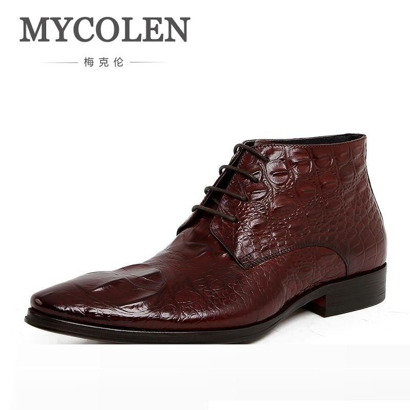 MYCOLEN Men Boots Genuine Leather Ankle Boots Winter Black Luxury Designer Dress Boots Business Crocodile Pattern Men Shoes