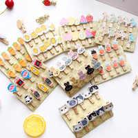10 unids/pack Clip de papel de madera de dibujos animados álbum de marcapáginas con pegatinas de mensaje de cuerda decoraciones de Clips de fotos de papel decoración artesanal