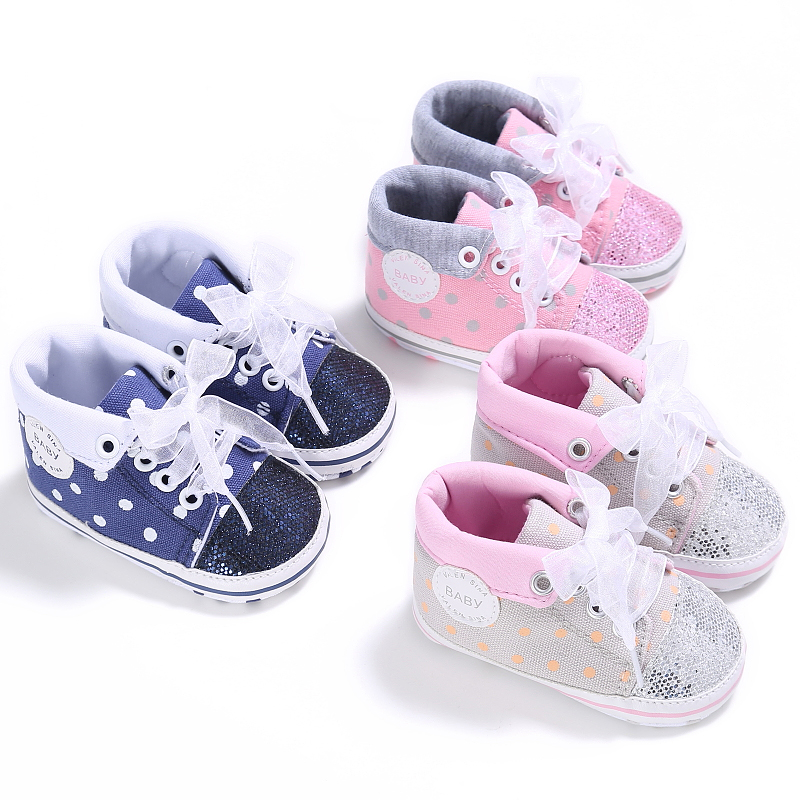 Polka Dot Infant Toddler Crib Baby Girl First Walkers High Top Sneakers Newborn Baby Cute Lace Up Shoes