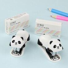 1 Set Novel Staple Manual Mini Panda Stapler Set Paper Binding Binder Stationery Office Supplies
