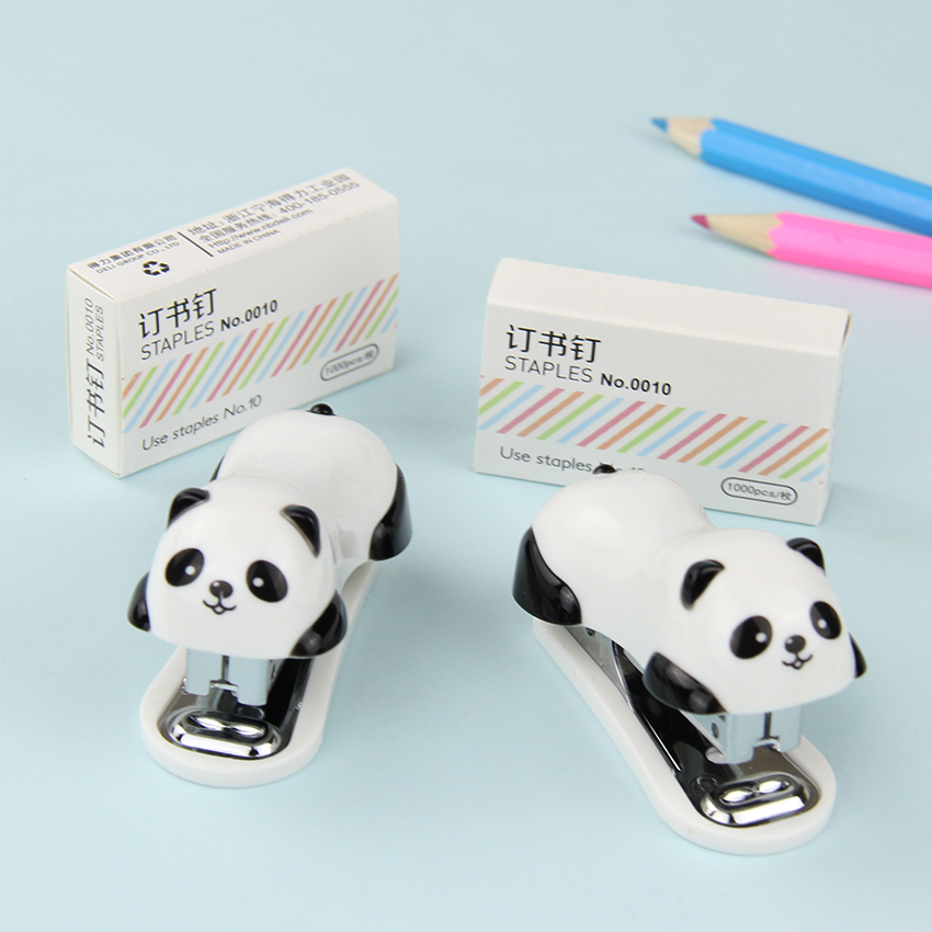 1 Set Novel Staple Manual Mini Panda Stapler Set Paper Binding Binder Stationery Office Supplies novel mini golf cart pen set blue