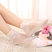 1 Pair Of Thin Cotton Women Socks Versatile Lace Short Breathable Sweat-absorbent Non-Slip Tube Net