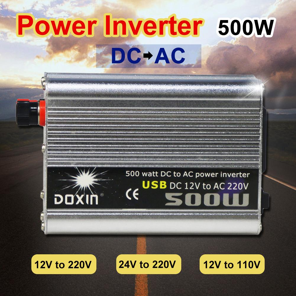 Doxin 500W DC 12V/24V to AC 110V/220V Modified Sine Wave Car Inverter Converter