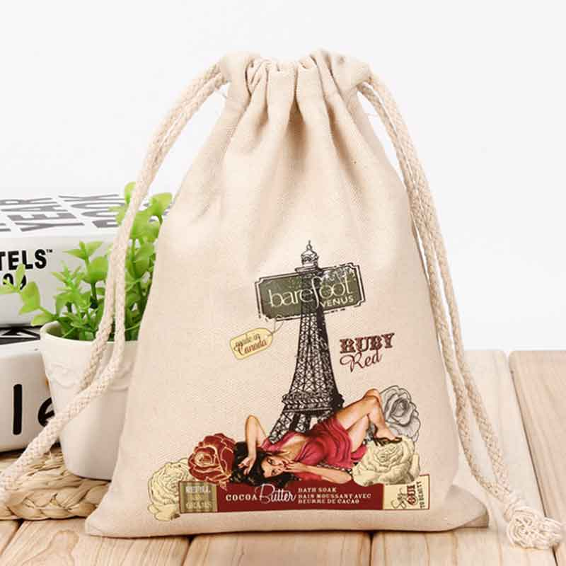 100pcs/lot Makeup Custom Logo Print Canvas  Cotton Jewelry Storage Packing Bag Pouch Wholesale Drawstring Bags For Wedding Gifts