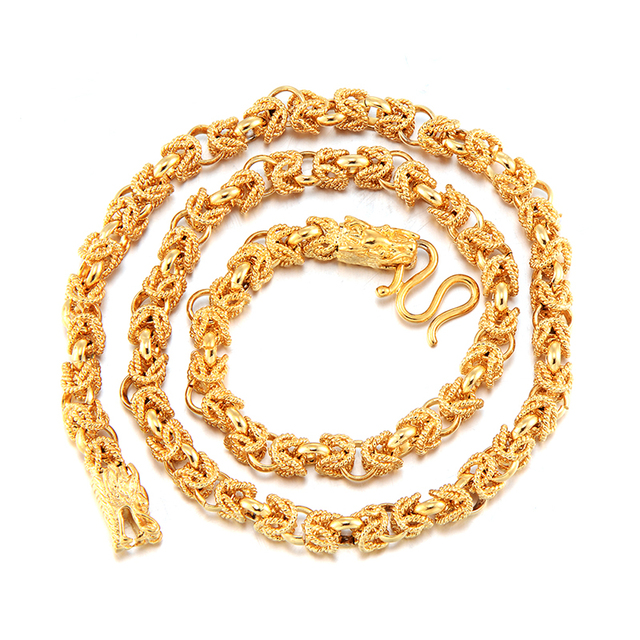 """Mens Jewelry  Solid Yellow Gold Filled Dragon Link Chain 22"""" Necklac"""