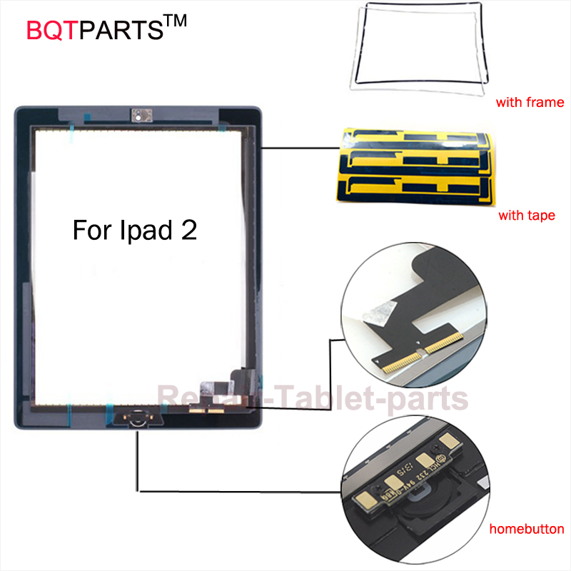 BQT For Ipad 2 touch screen glass digitizer front Glass Digitizer panel +homebutton+adhesive tape+frame for Black White