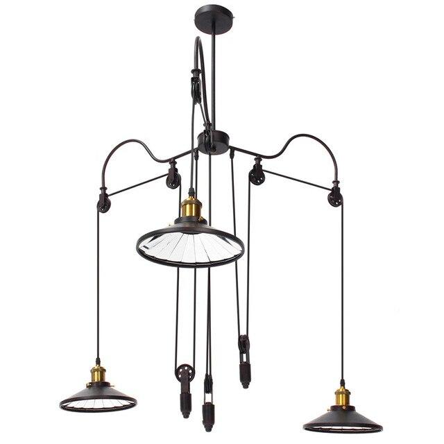 3 Way Mirror Pendant Lamp Shade E27 Retro Vintage Pendant Light Pulley Retractable  Pendant Lights Loft Hanging 110V 220V