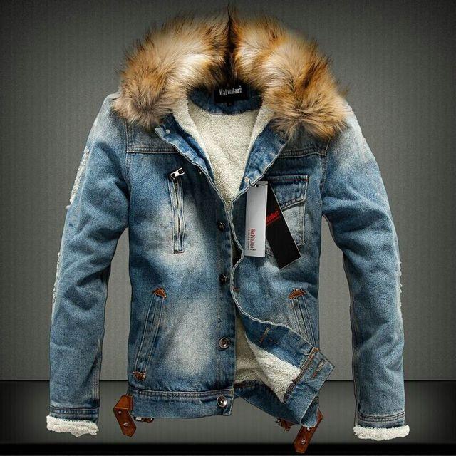 quality design 58524 b1473 US $47.54 16% di SCONTO|Bomber Giacca Giacca di Jeans Collo di Pelliccia  Degli Uomini Jeans Strappati Giacca Uomini di Modo di Inverno Più Il  Formato ...