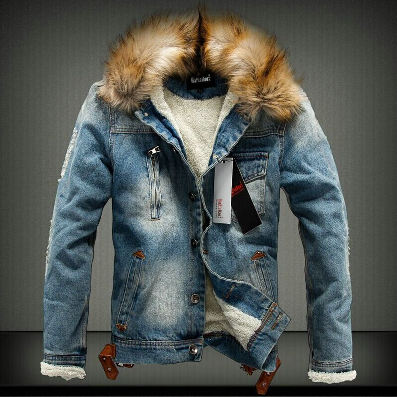 Bomber Jacket Denim Jacket Fur Collar Men Ripped Jeans Jacket Men Fashion Winter Plus Size Male With Brown Faux Leanther Fleece