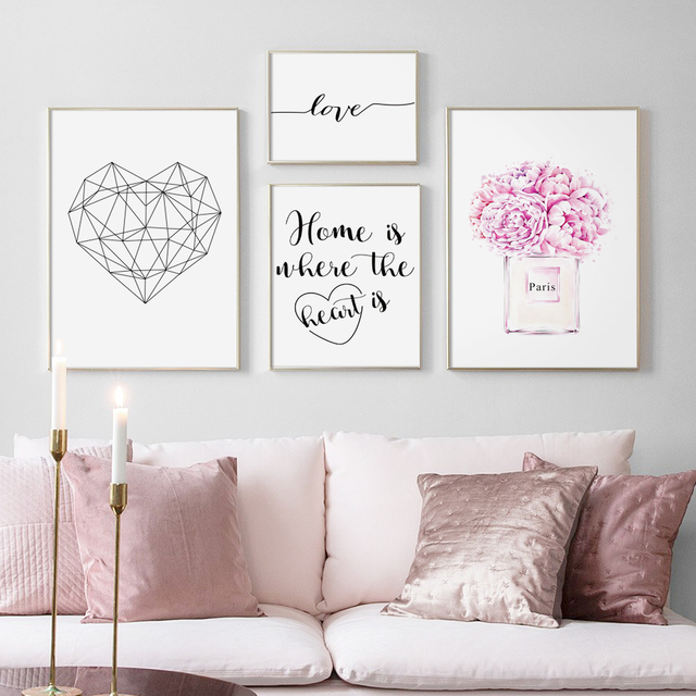 Paris Rose Perfume Geometric Heart Quotes Wall Art