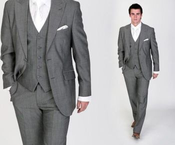 Italian Luxury Mens Grey Suits Jacket Pants Formal Dress Men Suit Set men wedding suits groom tuxedos(jacket+pants+vest+tie))