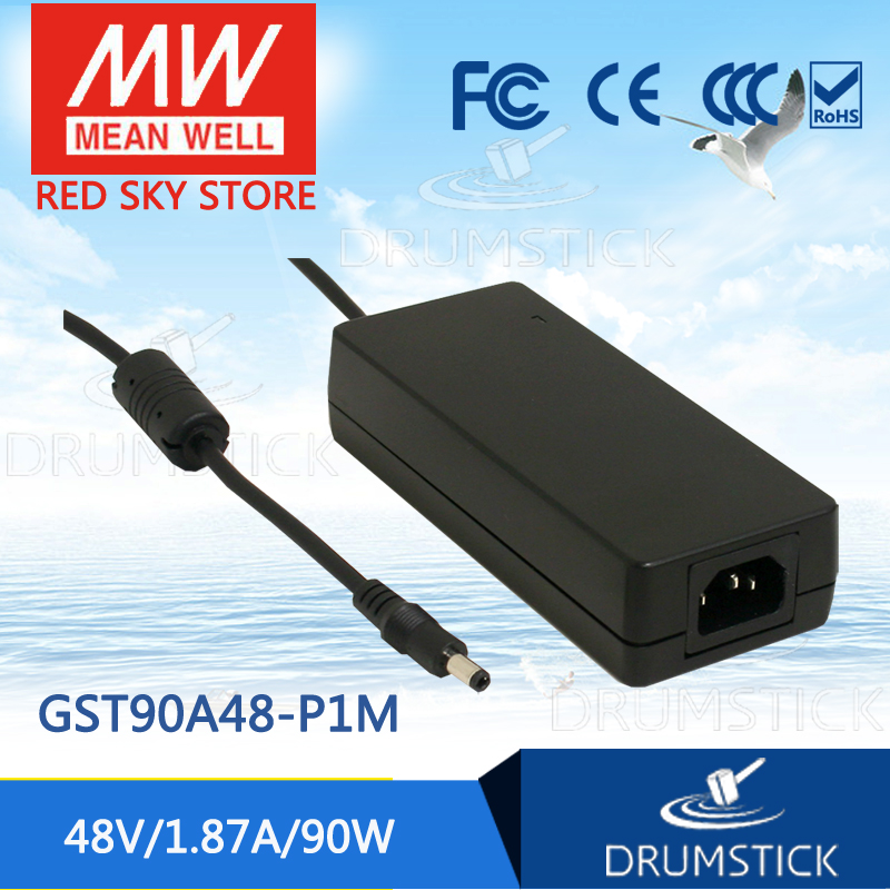 100% Original MEAN WELL GST90A48-P1M 48V 1.87A meanwell GST90A 48V 90W AC-DC High Reliability Industrial Adaptor 1mean well original gsm160a24 r7b 24v 6 67a meanwell gsm160a 24v 160w ac dc high reliability medical adaptor
