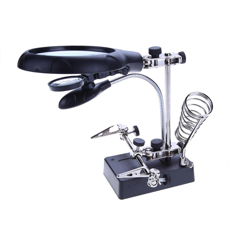 10X Lupa Pulpitu Lutowania Lampy Biurko Powiększające Zacisk Naprawy Glasse z 5 LED Światła Regulowany Pomocniczy Klip Repair Tool