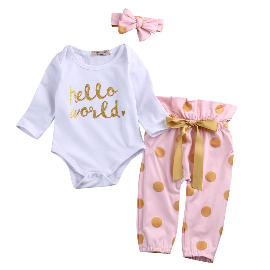 Infant Toddler Newborn Baby Girls HELLO WORLD Casual Romper Tops+Pants 2PCS Full Sleeve Clothes Outfit fashion 2pcs set newborn baby girls jumpsuit toddler girls flower pattern outfit clothes romper bodysuit pants