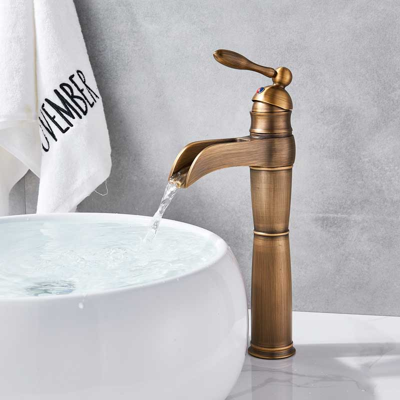 Waterfall Spout Bathroom Basin Faucet Single Lever Sink  Mixer Tap Antique Brass