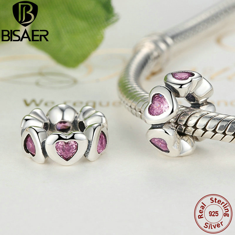 995e1aa45 where to buy aliexpress buy 925 sterling silver fancy pink sparkling hearts  spacer charm fit bisaer