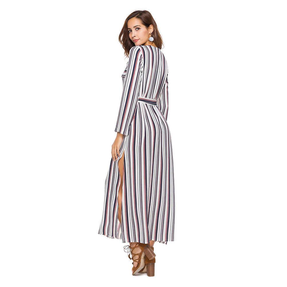 97fc171dd86d1f8 ... Женское платье с длинным рукавом Осень Boho Chic платья больших размеров  модная одежда в полоску красивое ...