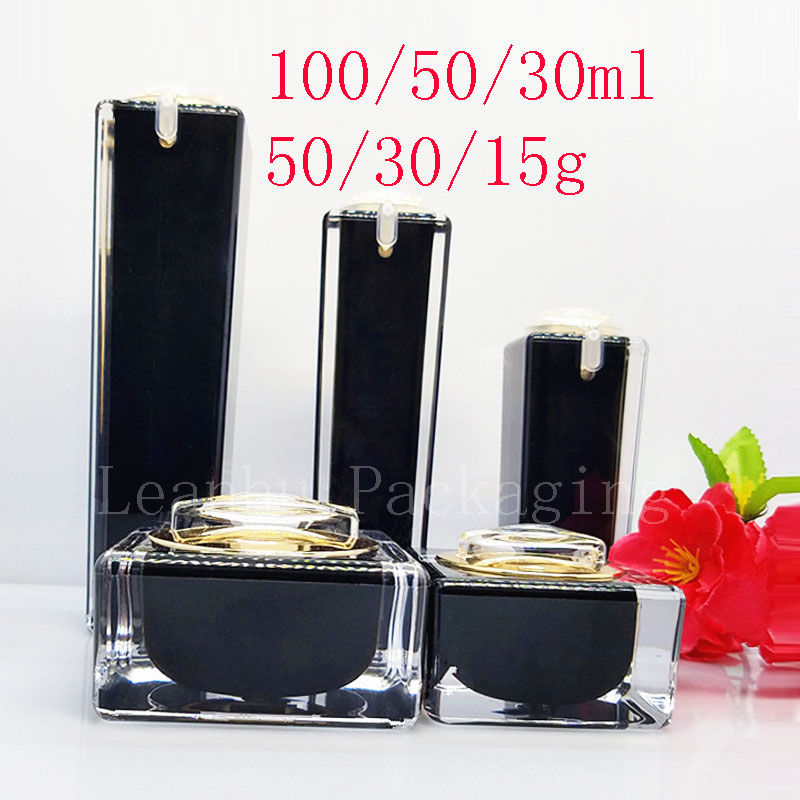 Square Black Acrylic Lotion Cream Cosmetic Bottles Luxury Skin Care Cream Jar , Acrylic Lotion Pump Container ,Acrylic Pot 10pcs 5g cosmetic empty jar pot eyeshadow makeup face cream container bottle acrylic for creams skin care products makeup tool