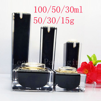 Square Black Acrylic Lotion Cream Cosmetic Bottles Luxury Skin Care Cream Jar , Acrylic Lotion Pump Container ,Acrylic Pot
