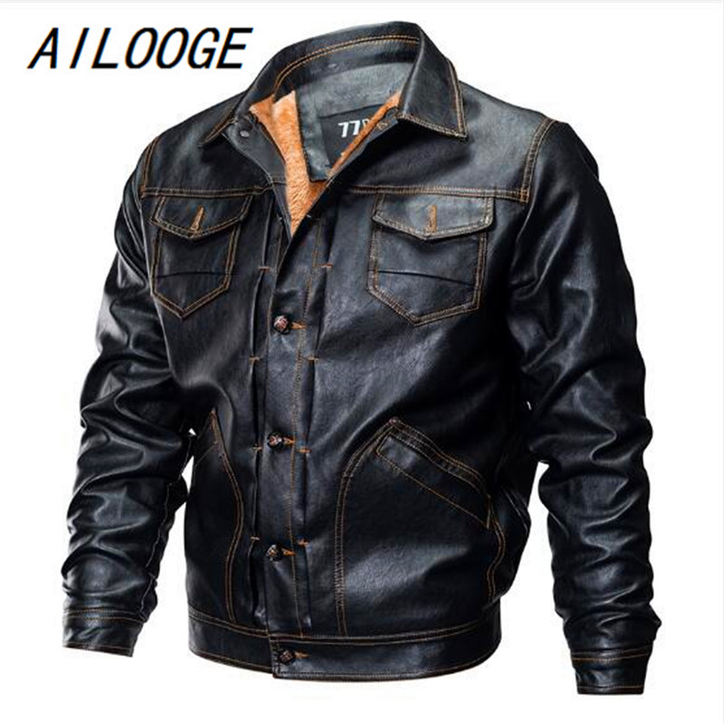 2018 Winter Pilot Leather Bomber Jacket Men Military Autumn Thick Warm Multi Pocket Flight Faux Jacket Male Fleece Coat Outwear