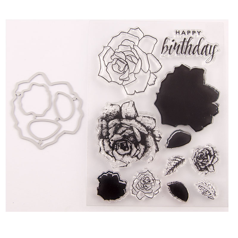 3D layering Flower stamps and dies Birthday clear stamp with cutting dies set for scrapbooking paper DIY Decoration card making