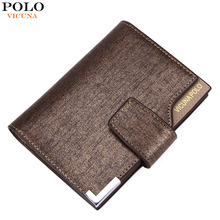 VICUNA POLO Italy Famous Brand Men Wallet High Quality PU Leather Trifold Wallet Large Capacity Short Metal Wallet For Man