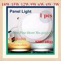 1 unid ronda luz del panel llevada 3 W 4 W 6 W 9 W 12 W 15 W 18 W AC85-265V 2835 SMD llevó la luz de techo downlight LLEVÓ el bulbo LLEVADO lámpara iluminación