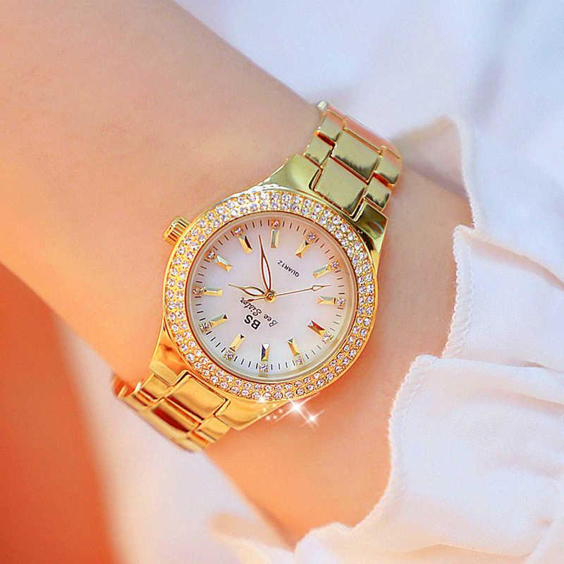 2019 גבירותיי יד שעונים שמלת שעון זהב נשים קריסטל יהלומים שעונים נירוסטה כסף שעון נשים Montre Femme 2018