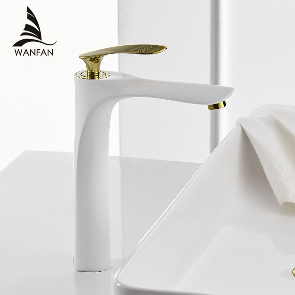 Basin Faucets Bath Water Basin Mixer Tap Bathroom Faucet Hot and Cold White and Gold Brass
