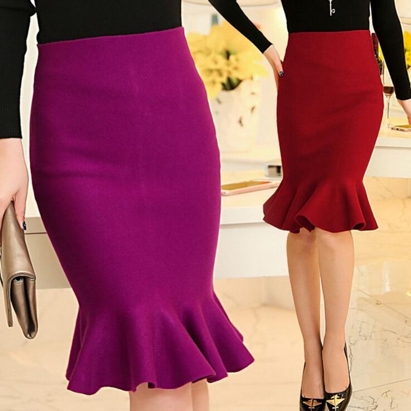 knee length mermaid skirt high waist slim
