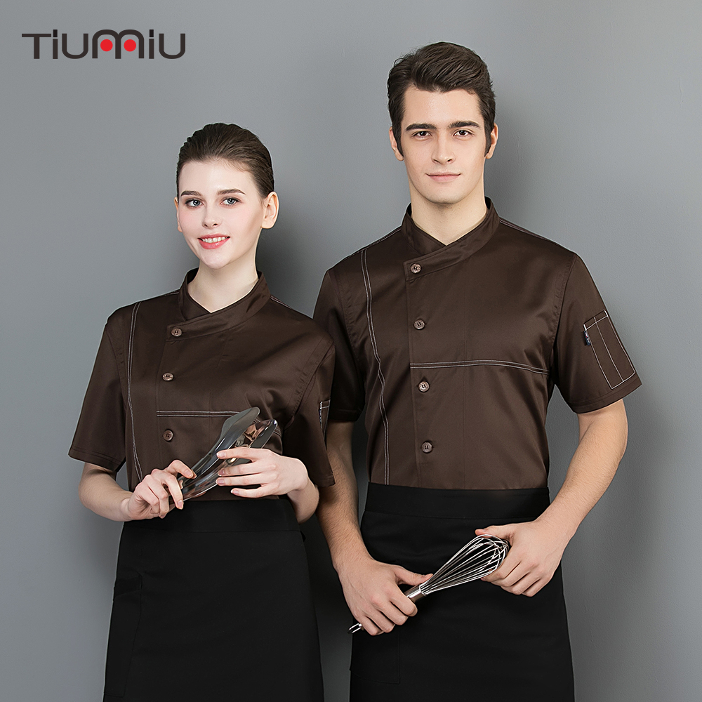 Chef Jacket Breathable Mesh Short Sleeve Chef Waiter Shirt Restaurant Kitchen Hotel Cooking Housekeeping Uniform Work Clothes
