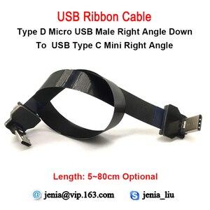 Image 1 - 5CM a 80Cm FFC Micro Tipo C Ângulo Direito AV carga USB Slim Fina Suave Plana FPC flexível saída de Cabo OTG