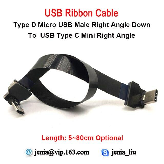5CM a 80Cm FFC Micro Tipo C Ângulo Direito AV carga USB Slim Fina Suave Plana FPC flexível saída de Cabo OTG