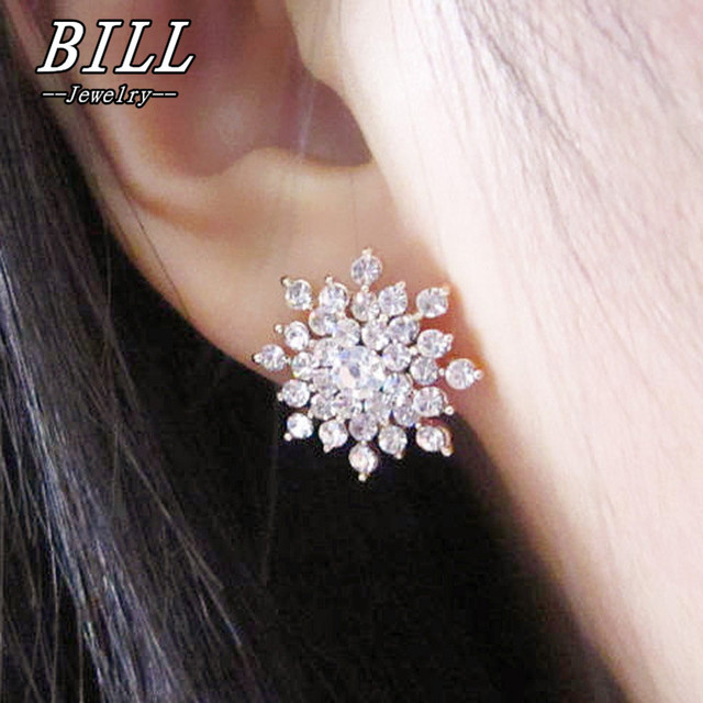 Es660 Hot Fashion Brincos 2018 S Earing Bijoux Sliver Snowflake Stud Earrings For Women Wedding Jewelry