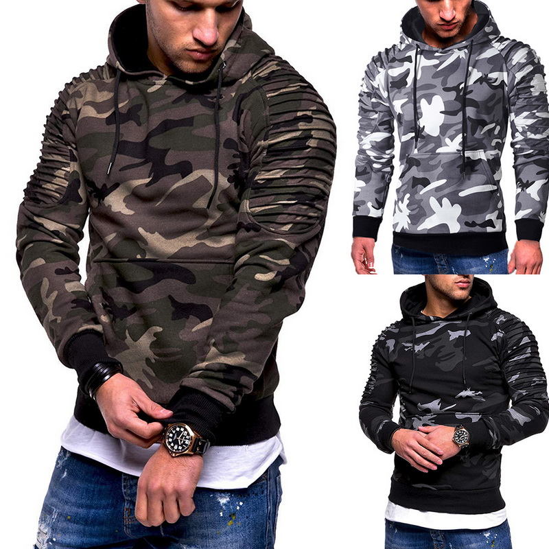 CALOFE Pullovers Sweatshirts Pocket Fitness Training Military Camouflage Hooded Men's