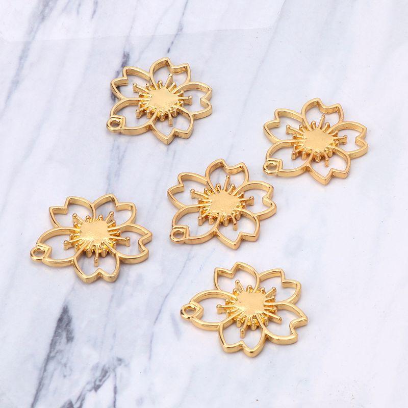 5 pièces De Fleurs De Cerisier Blanc Cadres De Résine Pendentif Serti de Fabrication De Bijoux En Résine - 5
