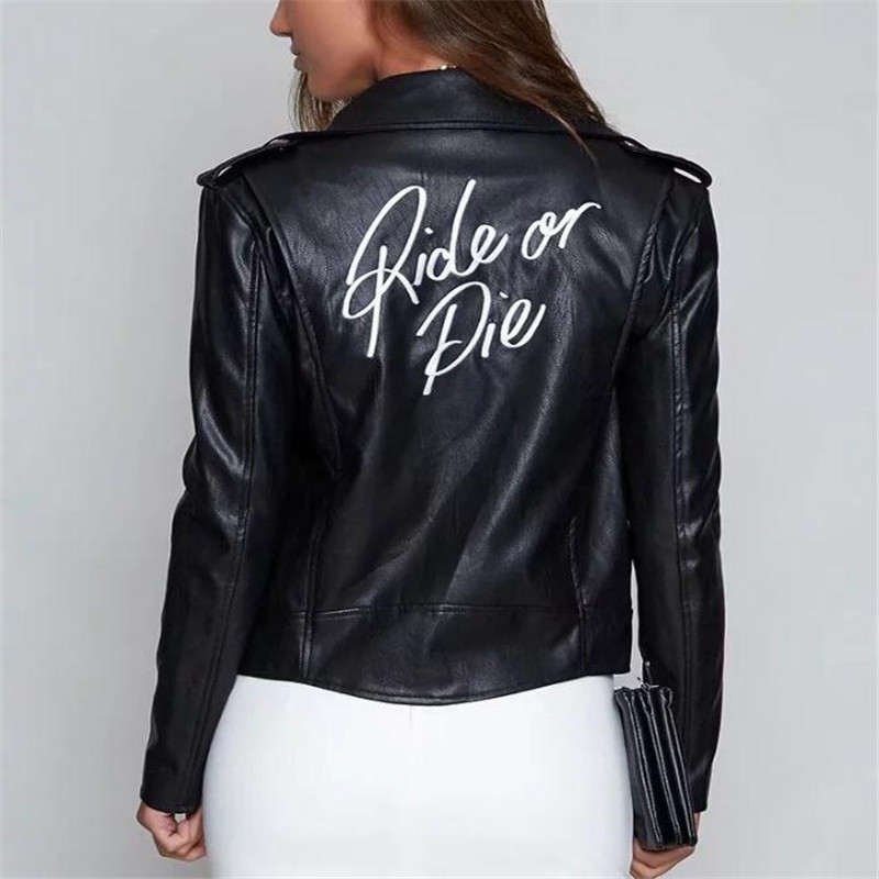 Fashion Girl Punk fan car Pu   Leather   Jacket Coats Spring and Autumn European and American Women's Wear Black Back Letter Embroid
