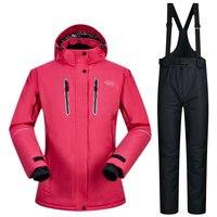 Высокое качество Водонепроницаемый лыжный костюм для Для женщин зимняя спортивная одежда Костюмы женские сноуборд куртка Лыжный Спорт зим