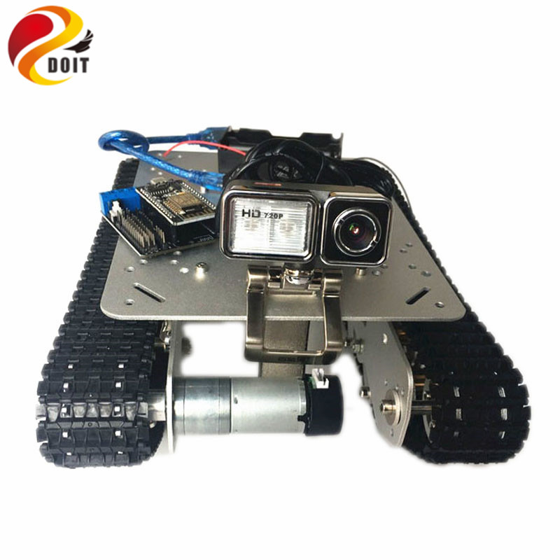 DOIT TS100 Shock Absorption RC WiFi Robot Tank Car Chassis Controlled by Android/iOS Phone based on Nodemcu ESP8266 Development doit mini nodemcu esp8266 wifi development board based on esp 12f 4m bytes flash esp 12f lua iot diy rc free shipping