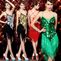 Red Gold Green Silver Knee Length Sequin Finge Salsa Dance Performance Show Dress Costumes Clothes Wear Outfits for Adults Cheap