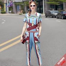 High Quality New European Designer Runway Suit Set Women's Two Piece Printing Short Tops + Mid-Calf Pants Set 2019