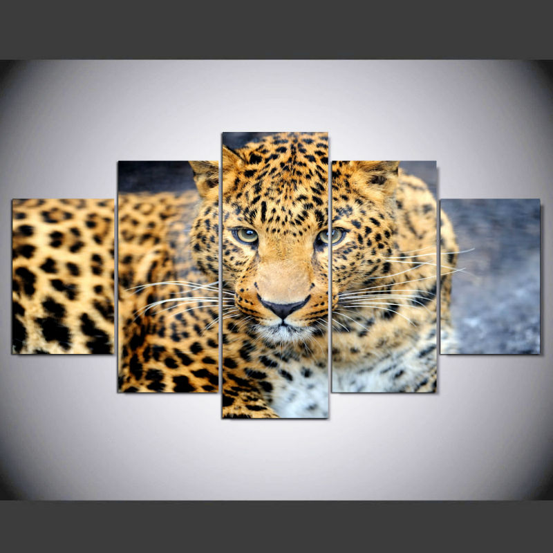 5 Piece Wall Art Picture As A Gift Home Decoration Canvas Art Leopard Print Painting With