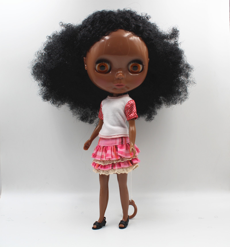 Blygirl Blyth doll Black explosion wavy new skin baby general body 7 joint deep black skin DIY doll can change makeup look