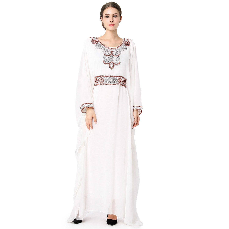 Nowa Szyfonowa Suknia Muzułmańska Moda Paskiem Muzułmaninem Islamskich Ubrania Kobiety Malezja Indonezja Dubaj Sukienka Dziewczyny Szaty w Nowa Szyfonowa