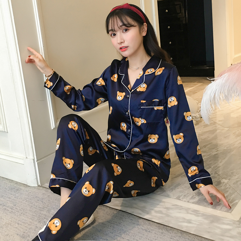 Plus Size Silk Satin   Pajama     Sets   for Women Spring Autumn Long Sleeve Cartoon Print Pyjama Sleepwear Lounge Homewear Pijama Mujer