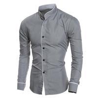Merk Persoonlijkheid mannen Shirt Casual Slim Lange mouwen Polyester Shirt Tops Blouse Hot Fashion hoge kwaliteit Herrenhemden # AA