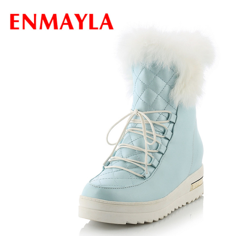 ENMAYLA Winter Warm Fur Platform Snow Boots Womens Flats Lace-up Ladies Shoes Woman Pink Blue Black Half Boots недорго, оригинальная цена