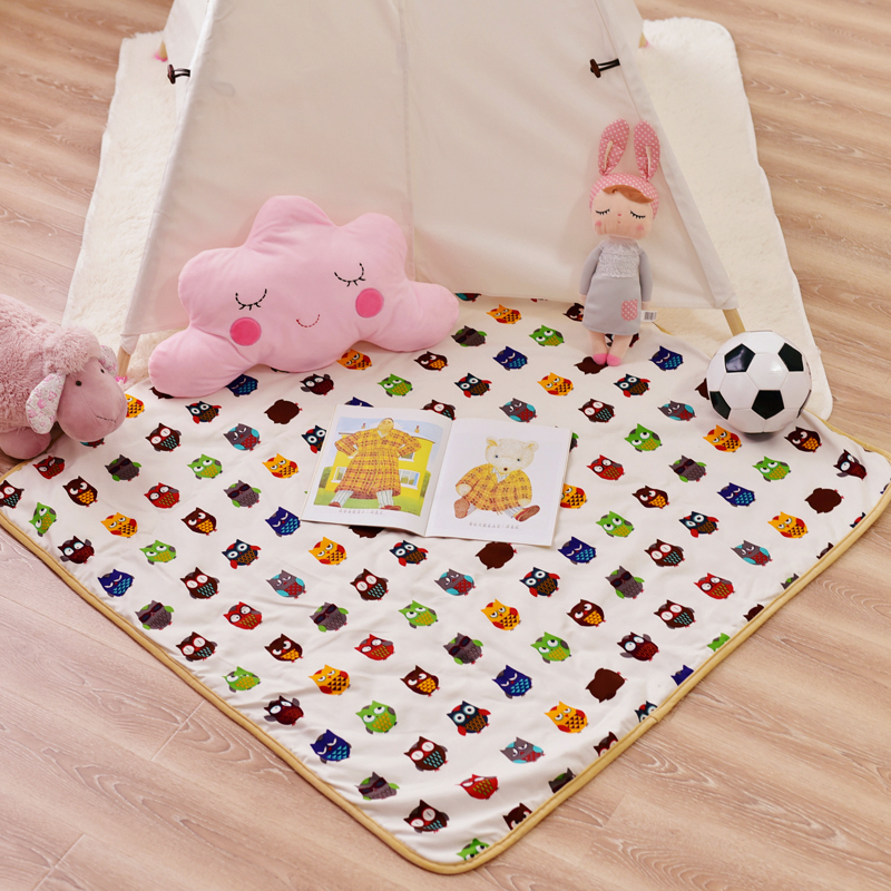 Square Cotton Kids Crawling Play Mat for Teepee Tent Indian Play Mat Carpet