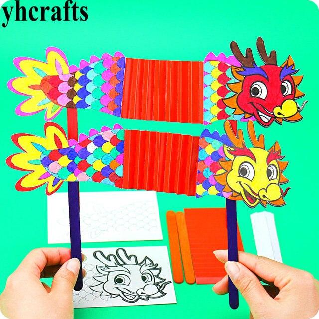 6pcs Lot Diy Chinese Dragon Craft Kits Pop Stick Art Early